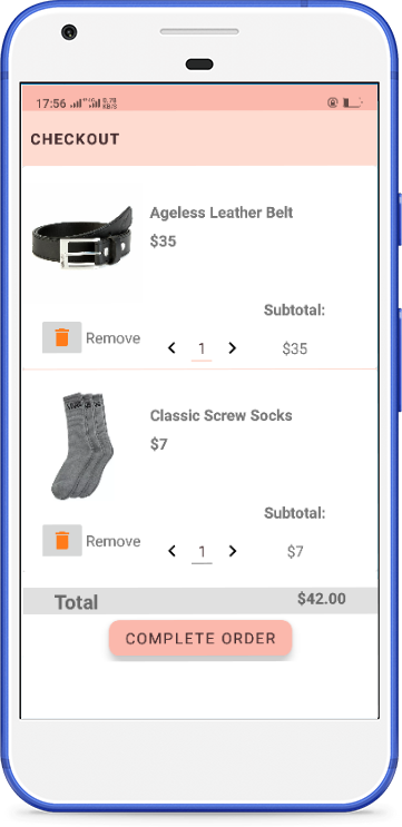 Screenshot of the products checkout page of one of the apps I have developed