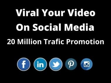 Are you looking viral for your You Tube Video. Then you are exactly knocked in the right place. You will get very much professional service from us. The service is help to get real and organic worldwide audiences from now and on wards.  Method will be use:  We will use most popular social media platforms such as: Facebook, Twitter, Linkedin, Pinterest, Quora Back link, Instagram etc.  We post your video on Facebook fan page.  Benefit of the service:  Real and Organic. Result oriented. Provide Proof of work. Increase popularity of your video. Delivery on time. 24/7 responsive availability  Note: Moreover If you need any other related service, please message me. I will response