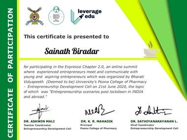 I awarded as best entrepreneur at online summit where experienced entrepreneurs meet and communicate with young and aspiring entrepreneurs which was organised by bharati vidyapeeth deem university poona college of pharmacy on 21 st june 2020. the topic of which was ( Entrepreneurship scenarios post lockdown in INDIA and abroad...