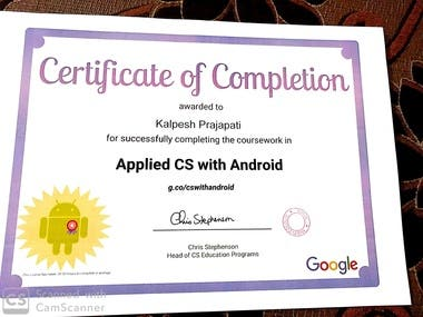 I got certificate for achieving Android Development course.