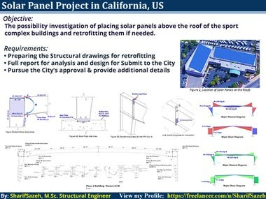 Objective:  • The possibility investigation of placing solar panels above the roof of the sport complex buildings and retrofitting them if needed.  Requirements: • Preparing the Structural drawings for retrofitting • Full report for analysis and design for Submit to the City • Following up the City's approval & provide additional details  #Solar Panel