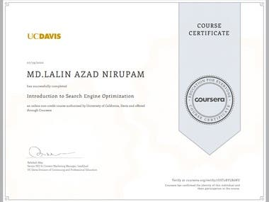 I have completed the course succesfully .I have learned about 1. google algorithm 2. penalization 3.google indexing 4.keyword research