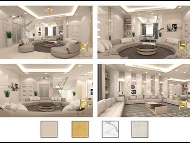 A project in Gulf, Luxury modern Villa in Saudi Arabia, one of my many finished projects there. I did a lot of Villa design, from modern to classic or traditional.