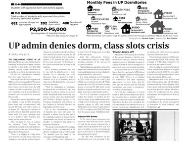 These are samples of pages that I have designed when I was part of my university's weekly publication as a layout artist and managing editor (AY 2015-16). As a graphics editor, I led the layout staff in the creation of the template for this term. The vision of the editorial board was to create a modern, magazine feel for the publication with a focus on features stories. That's the reason for the front page having only the graphics for the main article of the issue.    (Full issues found here: https://issuu.com/philippinecollegian/docs/kule1516-ish3, https://issuu.com/philippinecollegian/docs/issue_4)   I was a member of the publication for 5 years and I have been part of the creation of the templates for 4 of those. Please see sample issues below:  AY 2012-13: https://issuu.com/philippinecollegian/docs/kule1213_ish22 AY 2013-14: https://issuu.com/philippinecollegian/docs/ish_22 AY 2014-15: https://issuu.com/philippinecollegian/docs/1415_ish_4