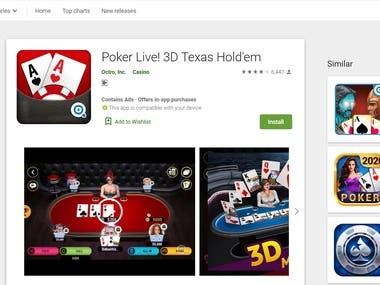 Experience the BEST ONLINE 3D POKER experience on Android devices. Poker Live! 3D Texas Holdem is an online game where you can play with real players or create a private party table to play with your poker buddies, friends and colleagues.  Poker Live! 3D Texas Holdem is a great way to meet new Poker pals and connect with Facebook friends! If you love poker, come and join the strong growing community. Just click on the button and download the app now for free.
