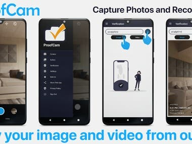 ProofCam is a camera app to capture photos and record videos with accurate time and location.  Download the app from google play store now:   ● The main features: - No Ads - In Camera, you can add different kinds of filters in photo and video mode. - In Gallery, you can access all photos and videos which you have clicked and recorded in this app. - One of the most interesting feature of our app is VERIFICATION. It's a simple verification process. Here you can verify images and videos to avoid fake news. To verify, just put the UUID of that image or video which you want to verify. You will get your desired image or video here. Now compare this authentic original image or video with that image or video which you want to verify.  Enjoy the app!