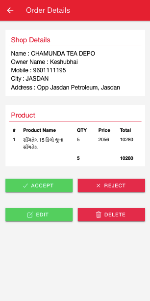 Damodar Oil Management Application,  -- Manage All Orders from Client and Salesman. -- Client and Salesman can put orders city and shop wisely. -- Admin can action on pending orders.