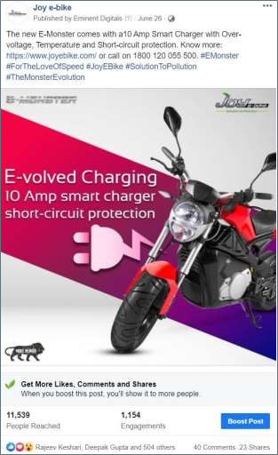 One of India's leading E-Bikes manufacturer is one of our star clientele. In the past year, we acquired this client and have been with us since then. When the client approached us, we had to basically rebrand it and for them, we did almost everything in the sphere of marketing. To start with, we carried out their online as well as offline marketing campaigns. For their offline marketing, we did their logo designing, setting a language, making relevant products, and much more. For their digital marketing, we took care of their social media campaigns, coming up with engaging content, forwarding potential leads, and more. Currently, we're also looking after their B2B campaigns on social media platforms.