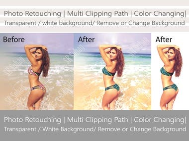 Photo Retouching | Multi Clipping Path | Color Changing| Transparent / White Background/ Remove or Change Background
