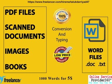Hi, I am Sultana Ragiya. I am a Passionate Freelancer having more than 2 years of experience as a Virtual Assistant, Data Entry, Lead Generation, and Web Research expert. Are you looking for any kind of document conversion or needs editing in your documents? If you have a PDF file, a book, a physical file, scanned images, or any text written on a page and want to switch to digital. I am the one you are looking for, for your document conversion. Different Document takes different time, it depends on word count, formatting, complexity. I assure you of the best Quality & Price. Price doesn't matter, quality and your satisfaction is my first priority.  My Services: PDF To Word / PDF to Excel Image to Text / Image To Word or Doc JPEG to Word / PNG to WORD Typing of Scanned PDf Images to Word Retyping Documents into Word  Why you choose me? *100% Satisfaction *100% Accuracy *Unlimited revisions *Long term working capability *Deliver project on time  Regards Sultana Ragiya