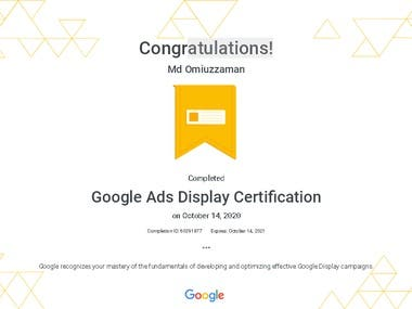 Google Ads Display Certification.Thanks to Google.