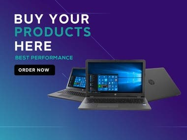 Social media post design for laptop website advertisement.