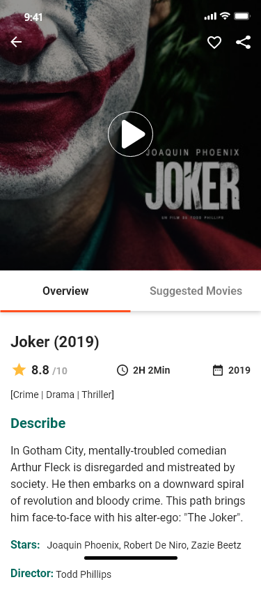 movie app to show the type of movies