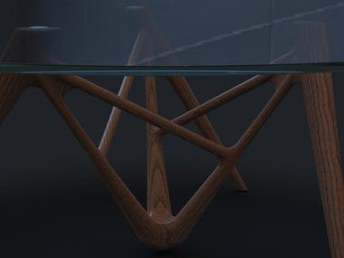 I entered this table into the 2017 Porada International Design Award. The brief was to create a piece of furniture using the brand's design language and was assessed on originality, degree of innovation and research into new design solutions. This project was more than a simple furniture build, it was an exploration into the typical processing of solid woods. It was also an experimentation with materials and surface finishes with particular regard to morphological and technological solutions. The table was modelled in Solidworks and rendered in Keyshot.