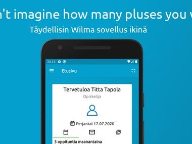 Best and greatest Wilma Application ever made.  Wilma is an service made in Finland for finnish schools. Service allows communication between school and home. Students can also communicate with teachers, look at their grades and do basic school-stuff.  My developed app makes it even simple and more easy with original features and revolutionary functionality never seen elsewhere.  Here's a link to look: https://wilmaplus.fi