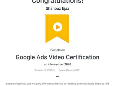 Google Ads Video Certification for Youtube & Other Video ads.
