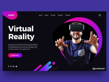 This is Virtual reality landing page Design
