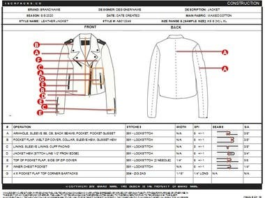 This is a leather jacket sample tech pack.