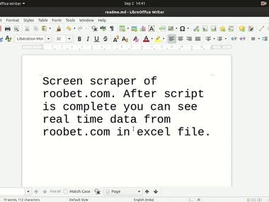 saving Real time data from roobet.com in excel file.