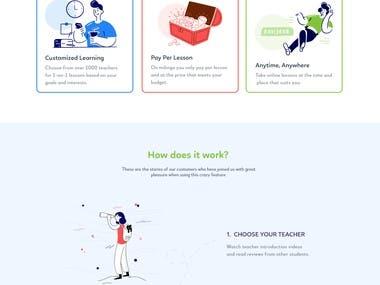 Web design and development for language learning platform.