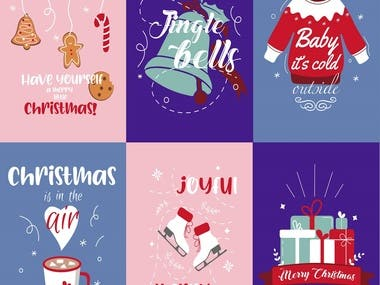 A set of Christmas illustrations created in Adobe Illustrator.
