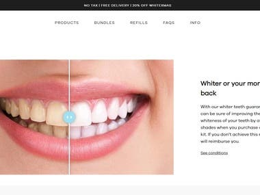 An ecommerce store for Teeth whitening and protection products. I made this store and am incharge of customization.  Website link https://ismileparis.com/