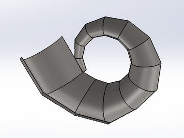 A nozzle casing of centrifugal pump is designed using the sheet metal. The development of sheet meatal part is also created.