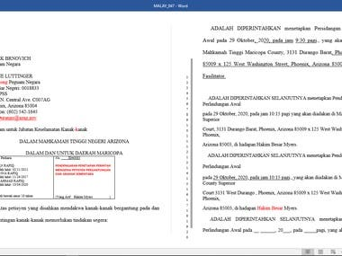 I proofreading 3000 words within 1 day. Legal document for Malay.