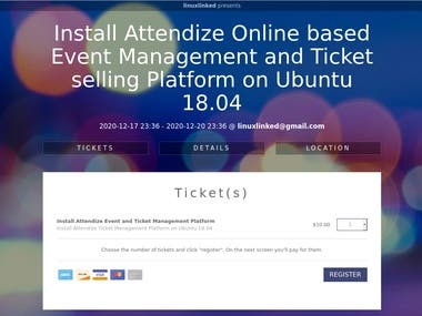 I will do Attendize installation || An open-source online based ticket selling and event management platform  If you need complete Attendize setup, ping me on below contacts: Telegram: linuxlinked email: linuxlinked@gmail.com WhatsApp: +8801720903155 Skype:live:.cid.c0dc316b9d727d5e YouTube: https://youtu.be/3KKk6jB6hxg Checkout my GitHub gist for Attendize installation: https://gist.github.com/LinuxlinkedBD/7c6ef1df73c18202cee9a0baa1de79a6