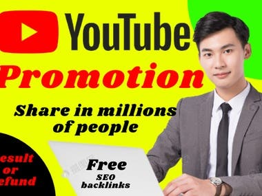 Hi, I am prozsaif a professional YT video promoter. I will boost your video on social media for millions of people. Look YT is a high domain website when I will post your channel on a video-sharing website, Do web2.0, blog spot comment, etc. your Vid... will be a rocket. You will get more engagements on your channel. My promotion Method and Platforms: Basically, I will promote your channel on social media. as: Facebook, Twitter, Quora (Very high domain) Blog comments. Share in Vid sharing websites. Let's discuss more your projects. Thank you very much. Prozsaif You can save my gig for remembering next time. Ask me any QUESTION NOW.
