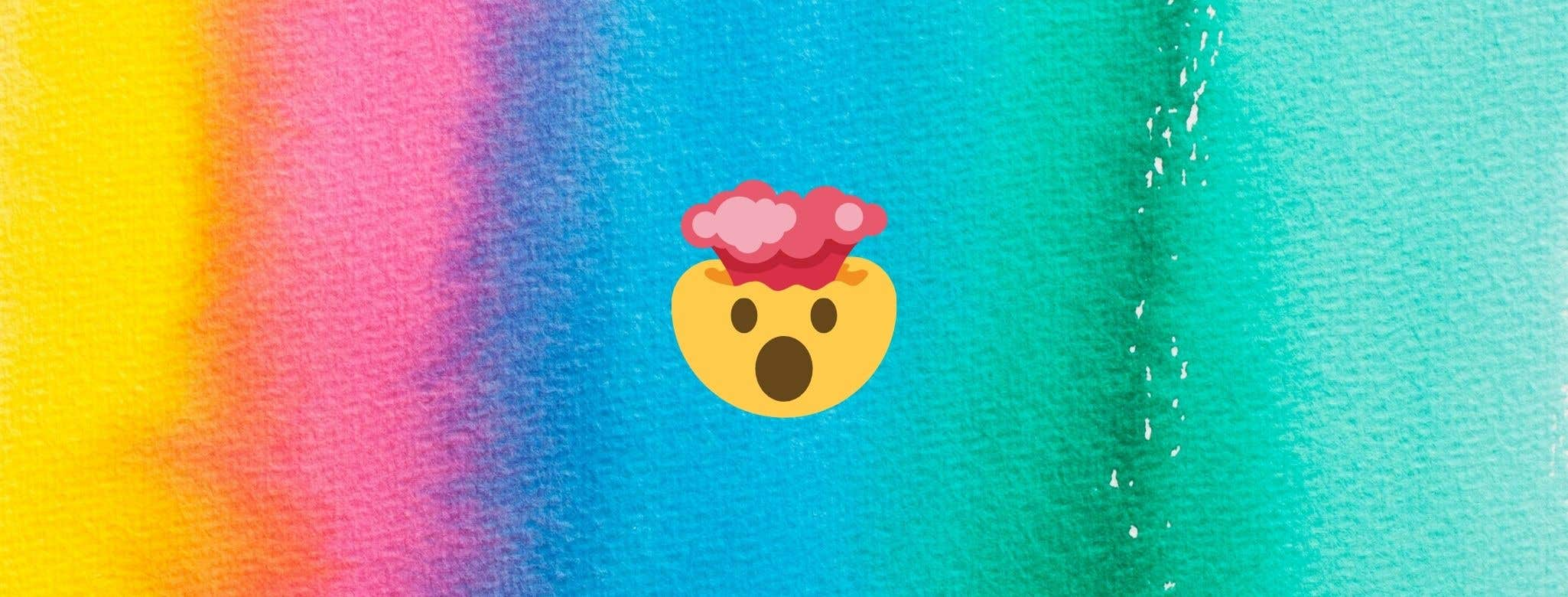 emoji of head exploding against rainbow colored backdrop