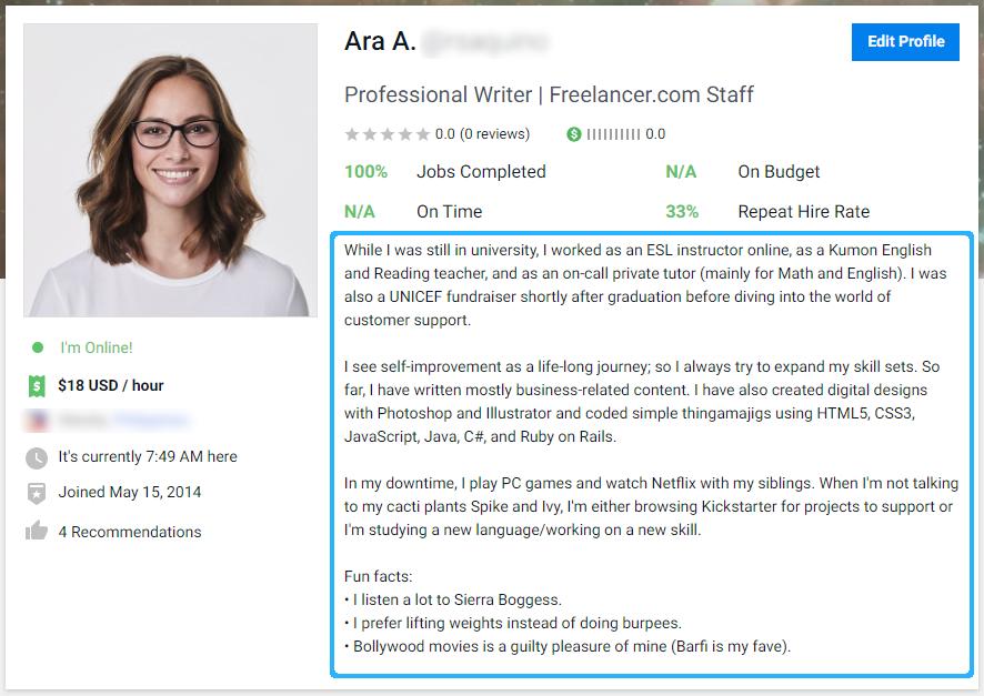 Good profile summary sample