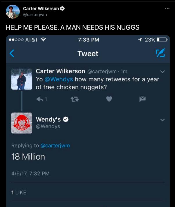 Wendy's 18M Retweets for Nuggs tweet