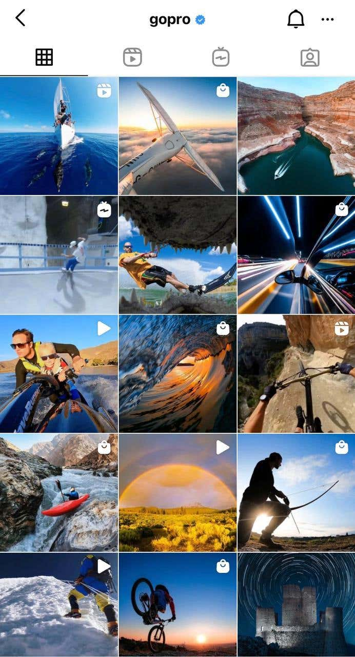 GoPro user generated content on Instagram