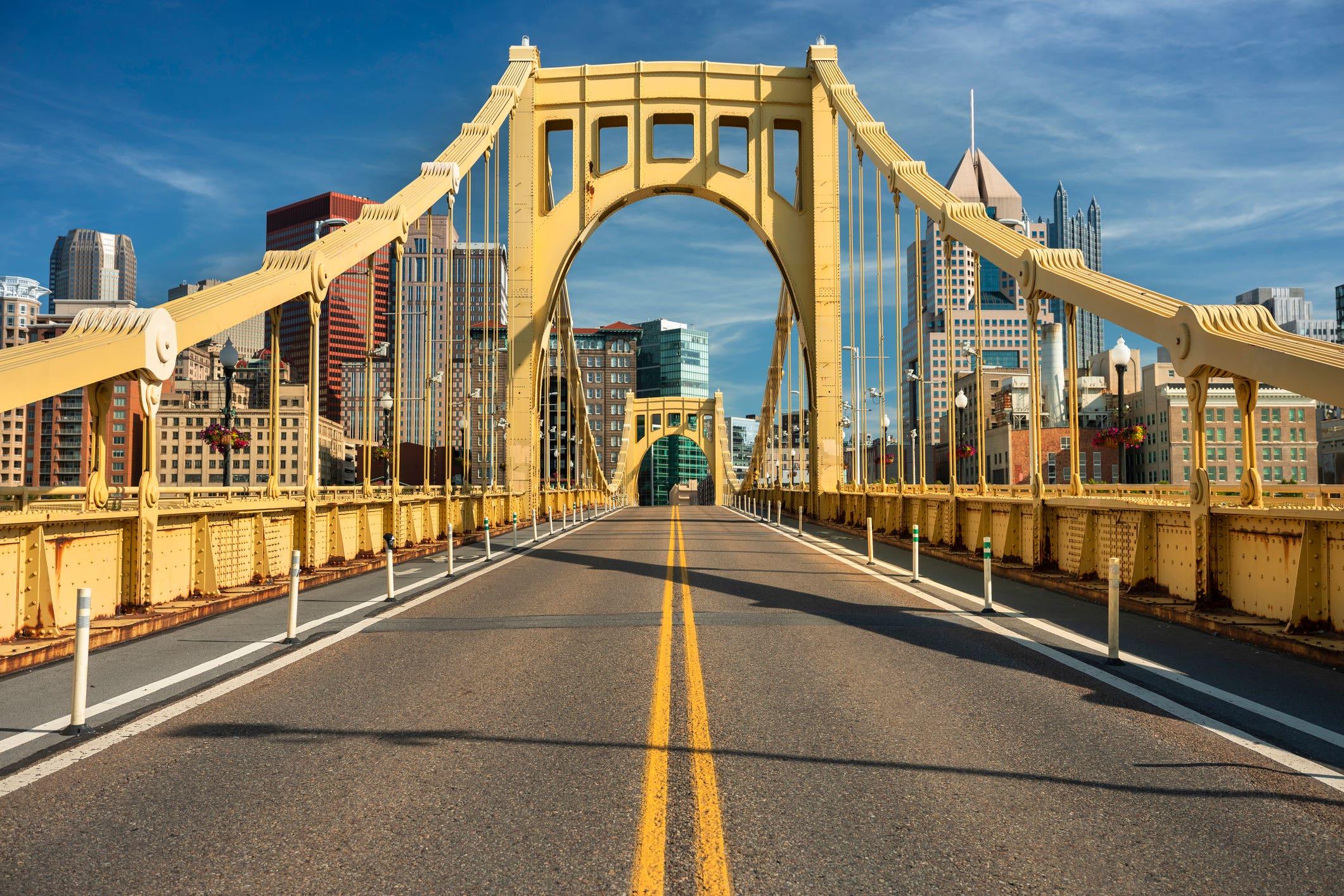 Yellow steel bridge in Pittsburgh