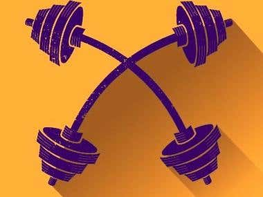 Textured barbell vector designed for Gym wear/T-shirts