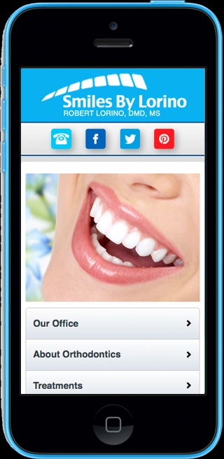 Website: http://m.smilesbylorino.com  The site is  coded using HTML5 / CSS3 / jQuery Mobile / PHP. The mobile version is created with same look & feel as that of the main site and is coded using Jquery Mobile. The script is added to handle the mobile detection and redirection to the mobile website.