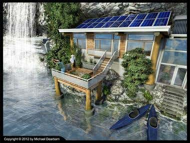 Renewable energy house rendering.