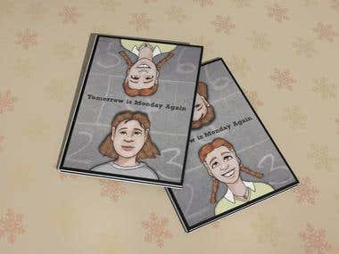 This is book cover concept for a childrens book. The idea was that the book is flipped to read the story from both girls point of view. The cover had to designed to tell the reader which girls story you are reading.