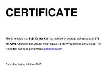 Typing speed test certificate obtained from Goodtyping.com-Typing speed is 376 CPM which equals 76 Words per minute