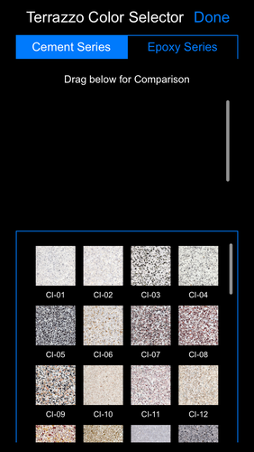 Terrazzo Color Palette allows designers, architects, artists, owners to view a small sampling of the infinite color and aggregate combinations available in this customizable floor, wall, ceiling, tread and riser system. Up to four colors may be placed together, giving designers an idea of how the colors will contrast or blend.  iTunes Store: https://itunes.apple.com/us/app/national-terrazzo-mosaic-association/id940008698?mt=8