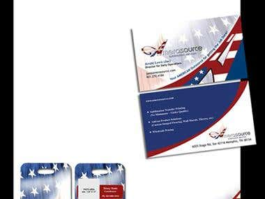 Business card, Letterhead and Badge Design for Amerasource. This project involves creative visualization, image and logo icon manipulation, representation of the Brand Image via  different corporate materials like Badges, Flyers and Postcards.
