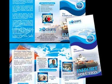 Brochure Design for Import/Export Trading company. This involves creative conceptualization, Page Layout, Image selection and manipulation.