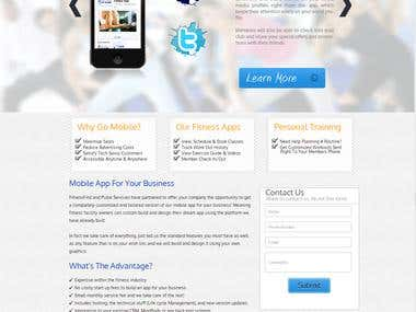 This website includes HTML, CSS, Javascript, and PHP for contact form. http://www.mobileappforfitness.com/