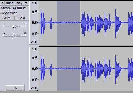 Shows selecting a section of audio in Audacity