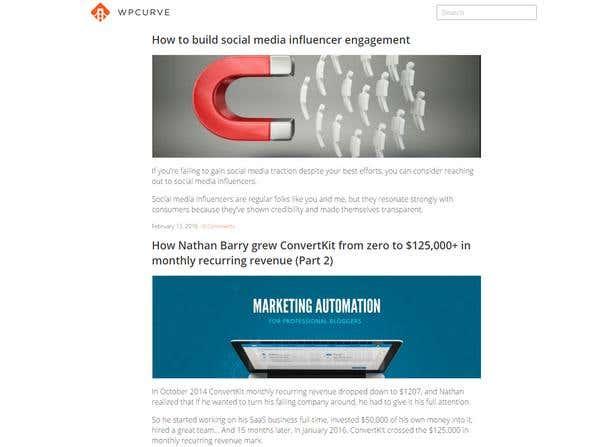 Screenshot of WPCurve's blog