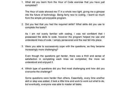 Transcription of child's handwritten surveys into Word doc