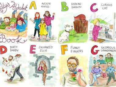 Watercolor book illustrations for ABC kids book