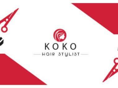 Design identitate vizuala si branding salon infrumusetare – KOKO.  KOKO hair stylist a apelat la serviciile mele pentru crearea logo-ului si a cartilor de vizita.  Cromatic am ales rosul ,culoarea ce pune in evidenta logo-ul si negrul ca element   de contrast. Pentru a  scoate in evidenta domeniul de activitate am realizat designul grafic al unui chip feminin   si a unor suvite de par rebele. De asemenea fontul folosit a fost unul special