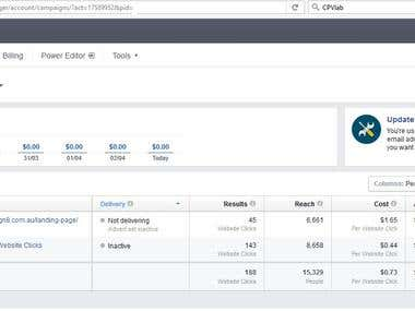 I manage the facebook paid ads camping and update it with landing pages and keywords